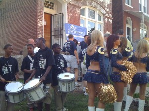 St. Louis Rams cheerleaders and the band getting ready