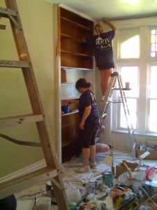 Painting the built in bookshelves