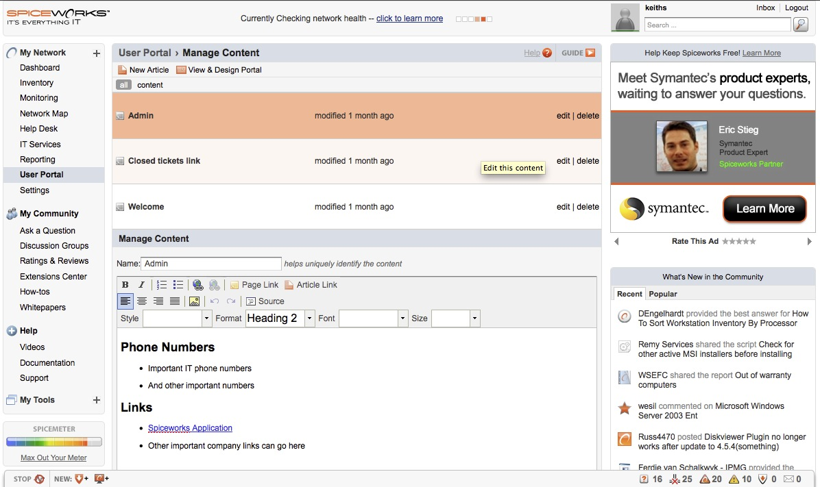 WatFile.com Download Free Free network monitoring software - Spiceworks - Keith Slater