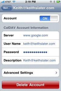 Set up CalDAV account on iPhone for Google Calendar