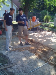 Scott Mosby from Mosby Building Arts discussing the patio